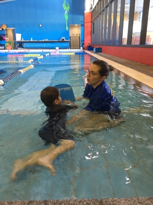 Alec likes his swimming lessons.
