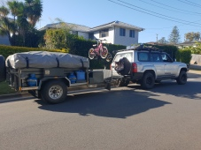Camper trailer packed ready to roll.